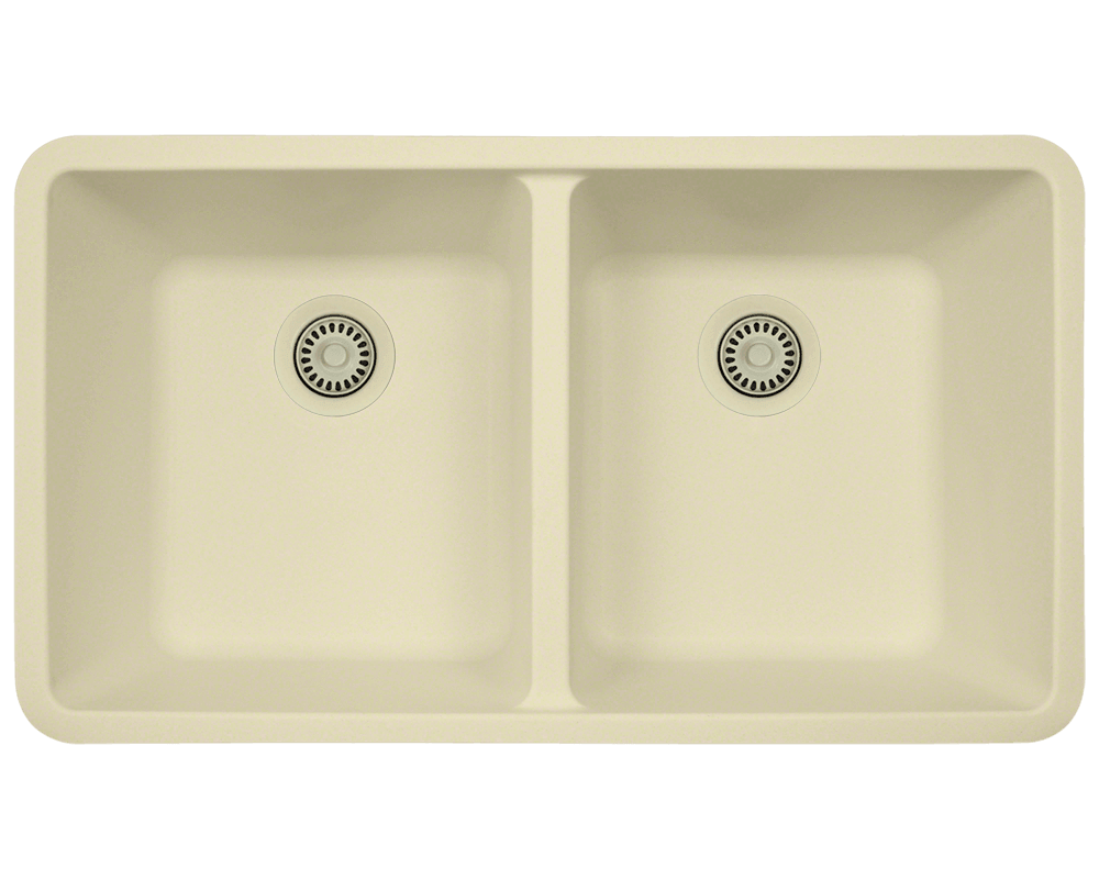 802-Beige Alt Image: 80% Quartz 20% Acrylic Rectangle Undermount Beige Kitchen Sink