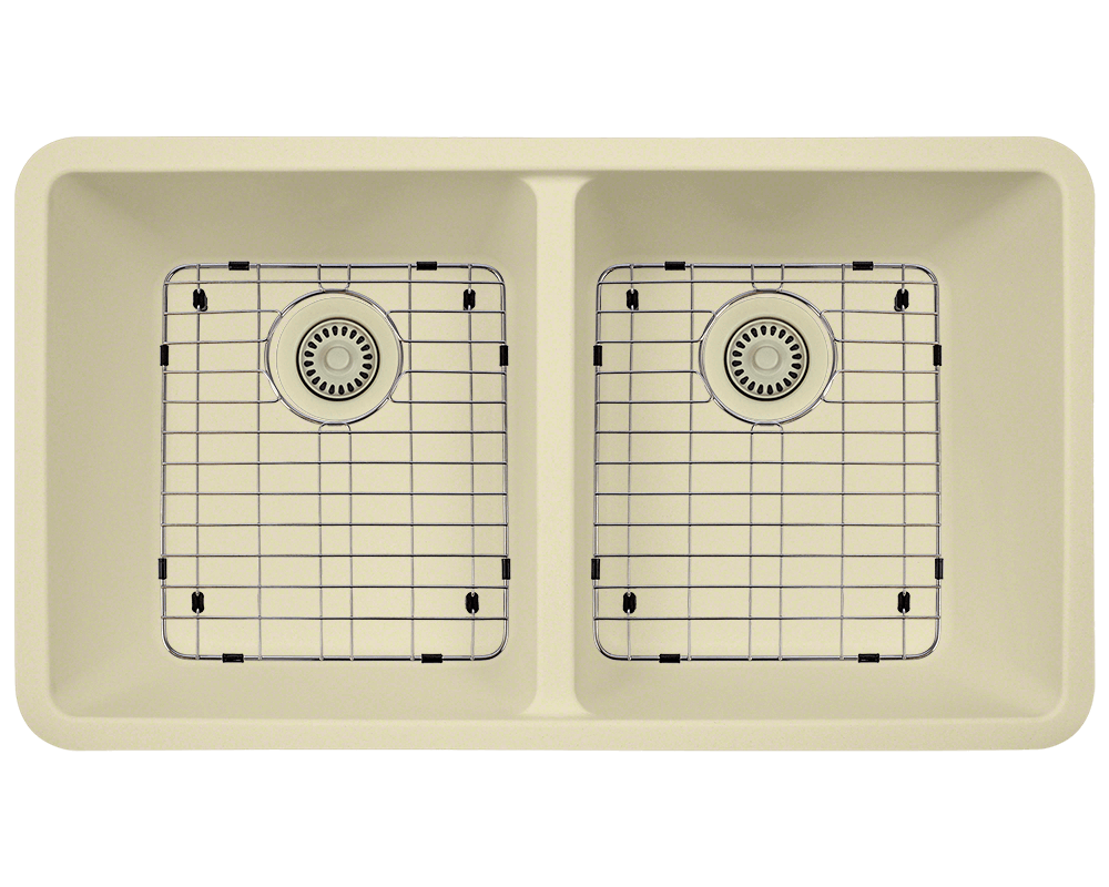 802-Beige Alt Image: 80% Quartz 20% Acrylic Undermount Rectangle Beige Kitchen Sink