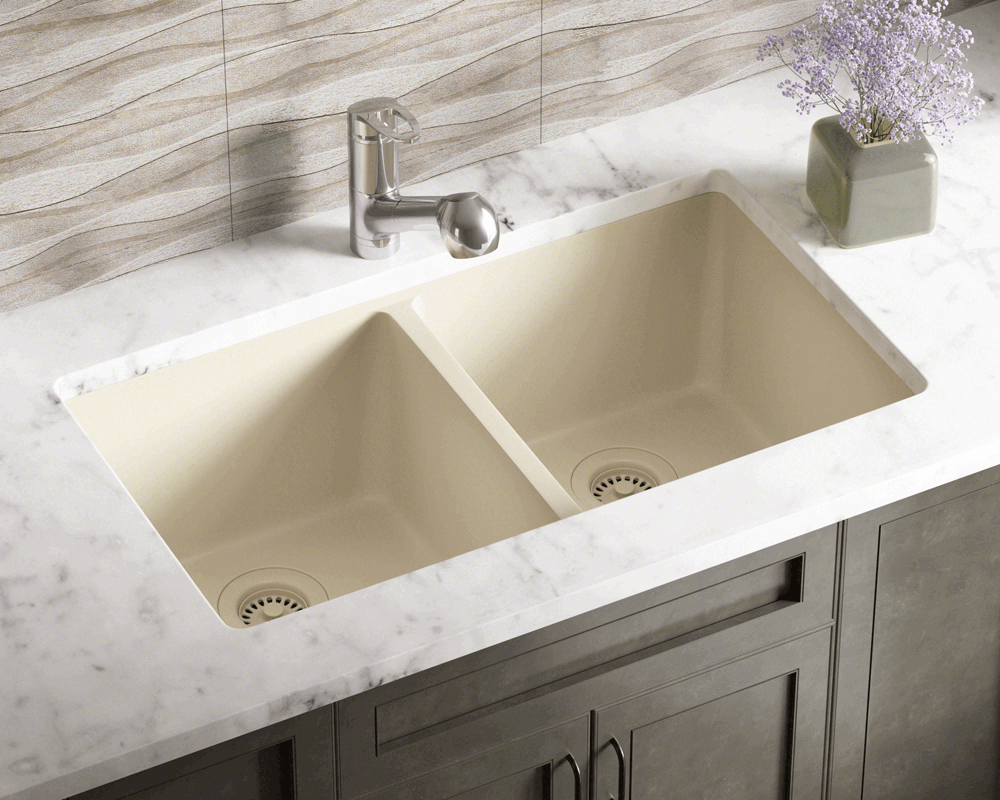 802 Beige Double Equal Bowl Trugranite Kitchen Sink
