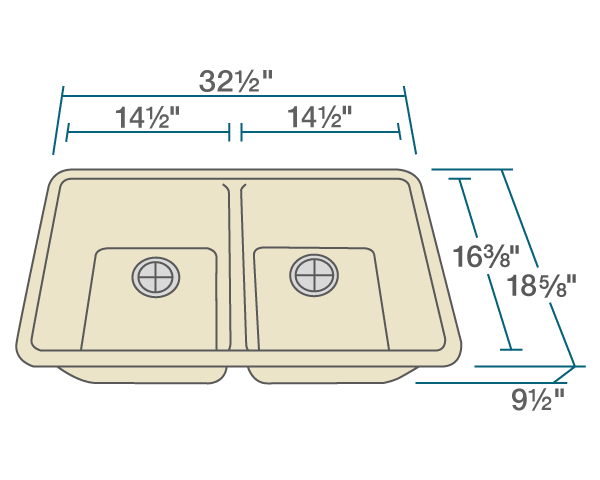 "The dimensions of 802-Beige Double Equal Bowl Quartz Granite Kitchen Sink is 32 1/2"" x 18 5/8"" x 9 1/2"". Its minimum cabinet size is 33""."