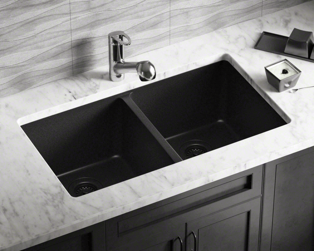 802-Black Double Equal Bowl TruGranite Kitchen Sink