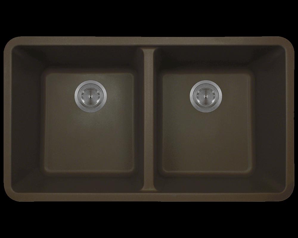802-Mocha Double Equal Bowl TruGranite Kitchen Sink