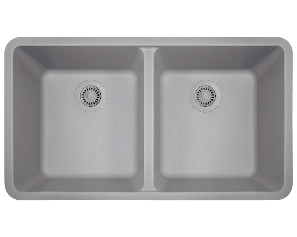 802-Silver Alt Image: 80% Quartz 20% Acrylic Rectangle Undermount Silver Kitchen Sink