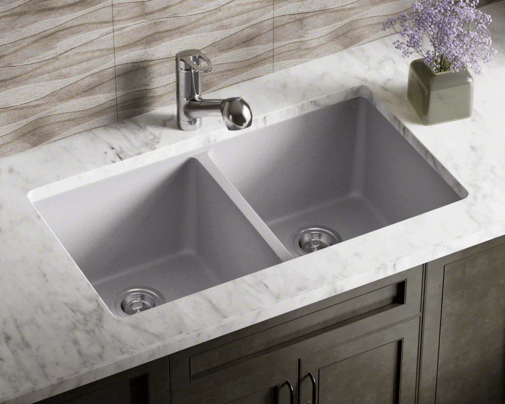 802-Silver Lifestyle Image: 80% Quartz 20% Acrylic Rectangle Undermount Silver Kitchen Sink
