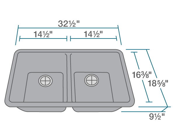 "The dimensions of 802-Silver Double Equal Bowl Quartz Granite Kitchen Sink is 32 1/2"" x 18 5/8"" x 9 1/2"". Its minimum cabinet size is 33""."