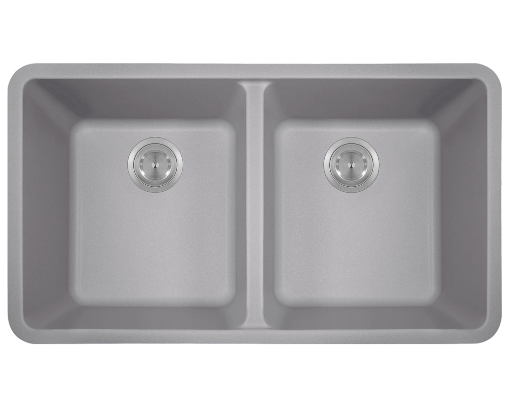 MR Direct 802-Silver Double Equal Bowl Quartz Granite Kitchen Sink