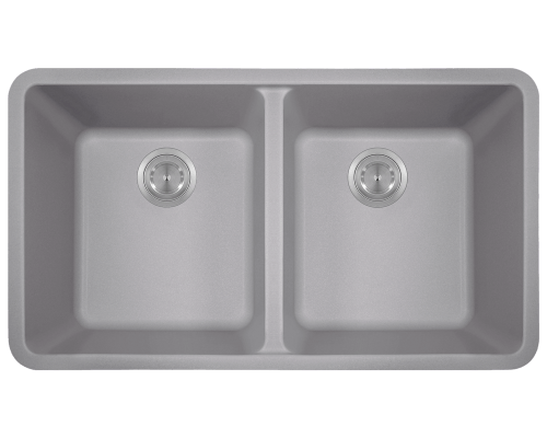 802-Silver Double Equal Bowl TruGranite Kitchen Sink