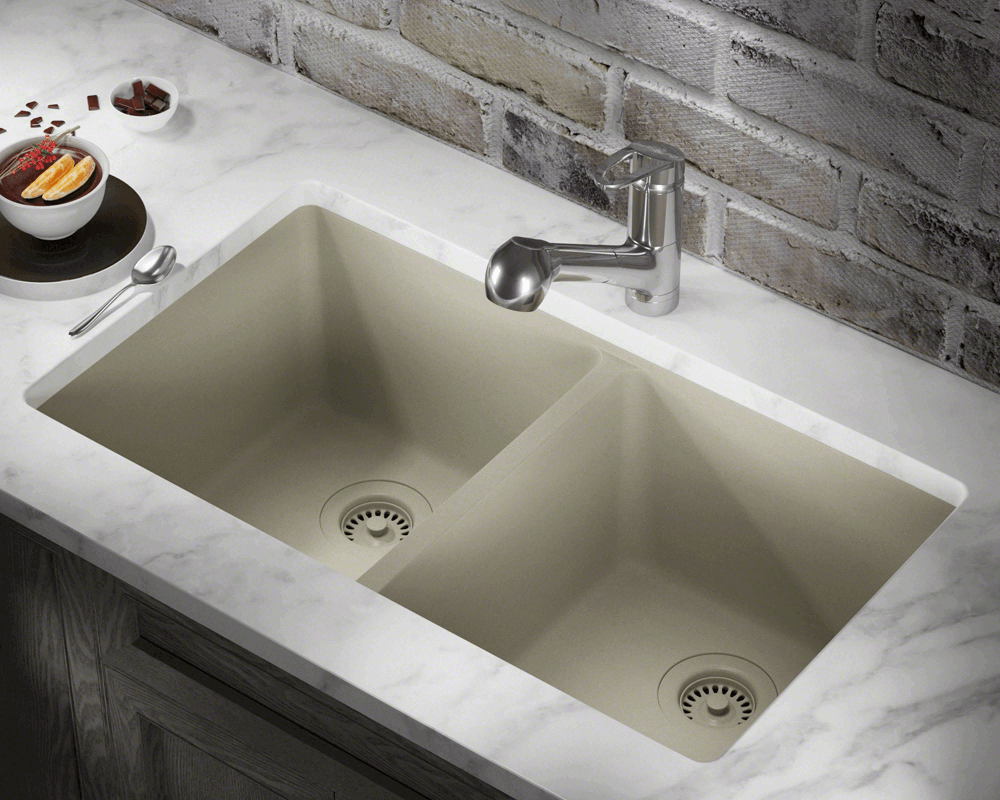 802 Slate Double Equal Bowl Trugranite Kitchen Sink