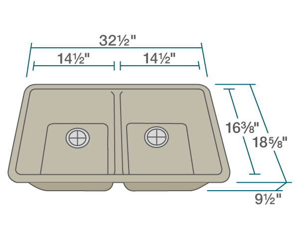"The dimensions of 802-Slate Double Equal Bowl Quartz Granite Kitchen Sink is 32 1/2"" x 18 5/8"" x 9 1/2"". Its minimum cabinet size is 33""."