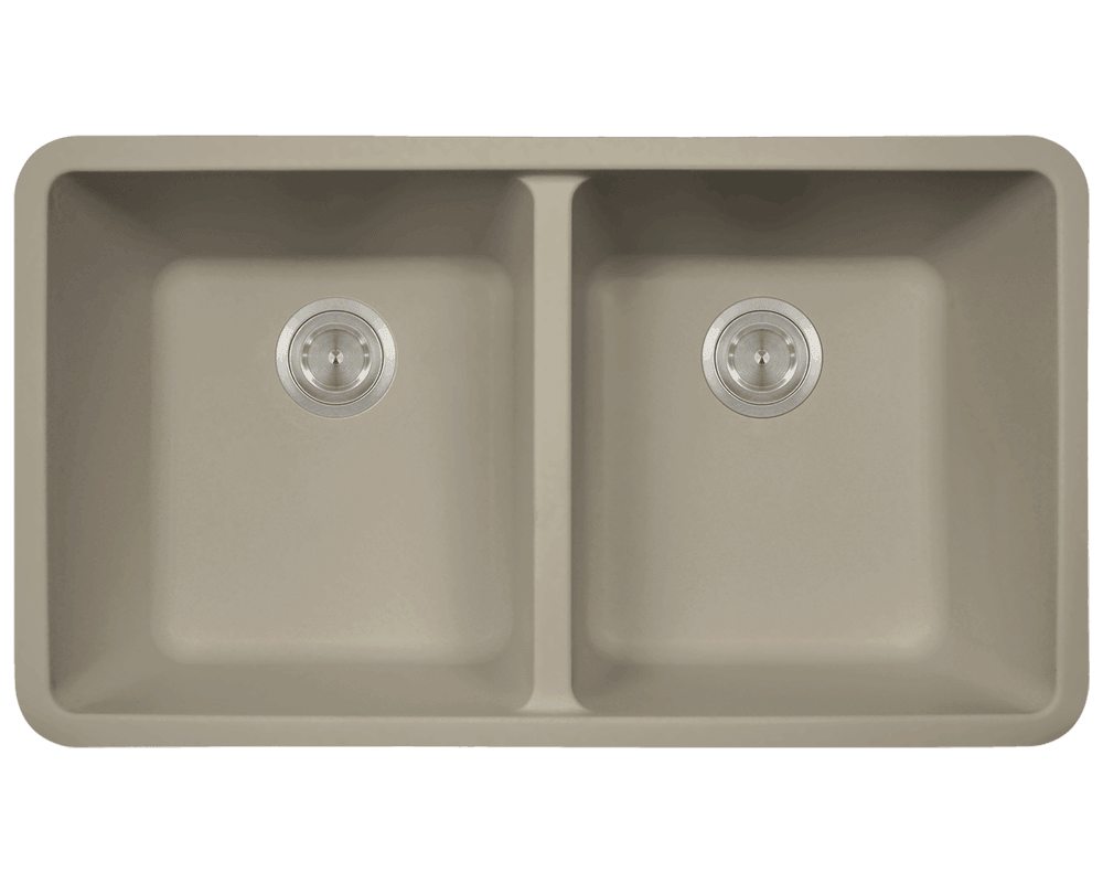 MR Direct 802-Slate Double Equal Bowl Quartz Granite Kitchen Sink