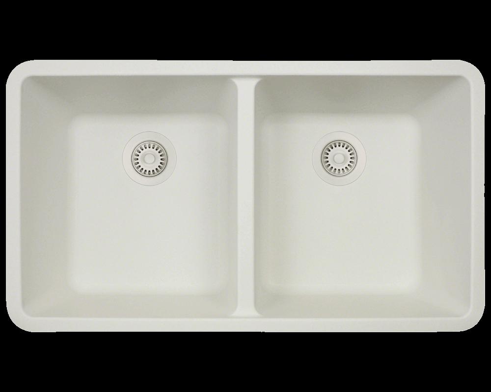 802-White Double Equal Bowl TruGranite Kitchen Sink