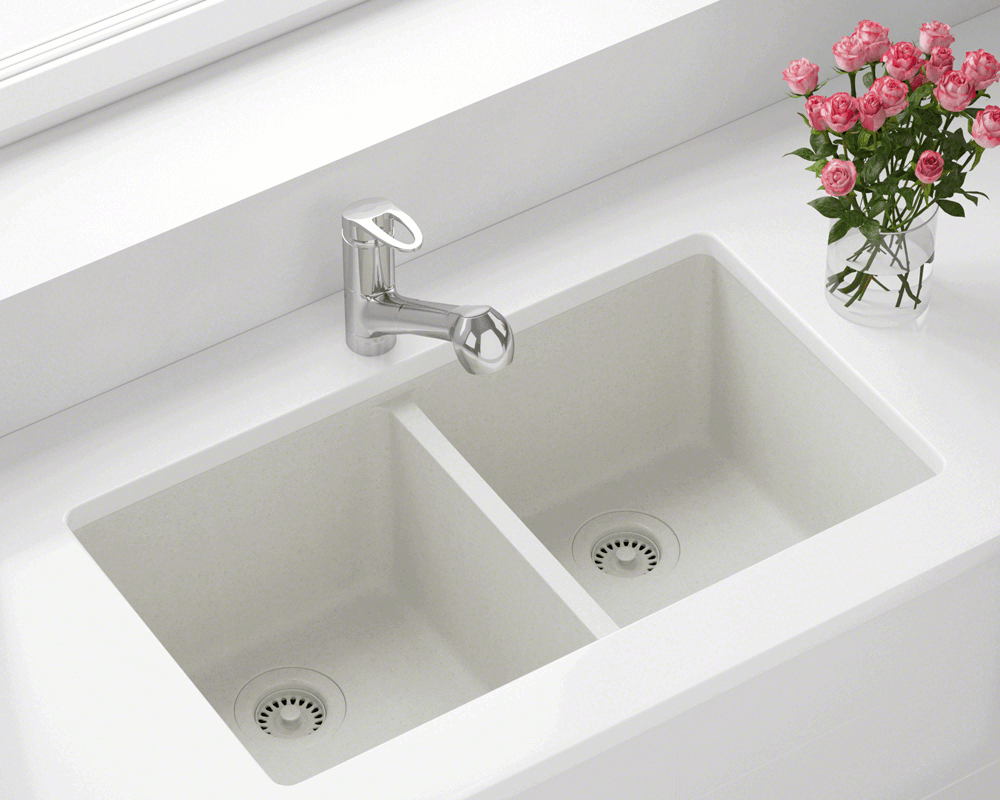 802 White Double Equal Bowl Trugranite Kitchen Sink