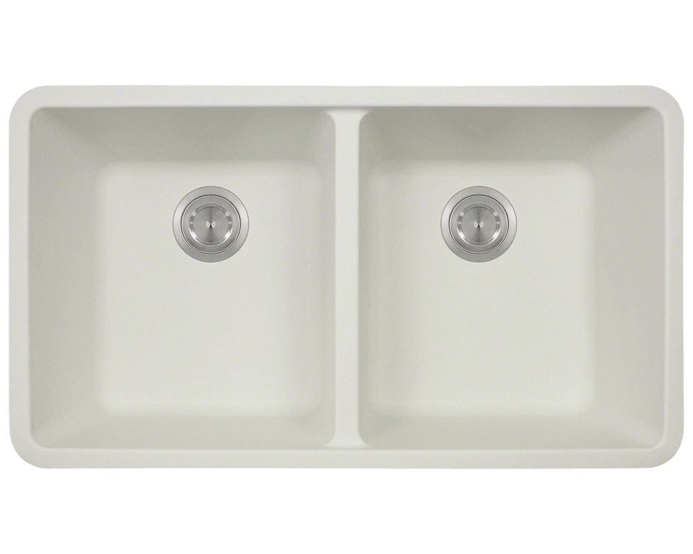802 white double equal bowl trugranite kitchen sink - Bowl Kitchen Sink