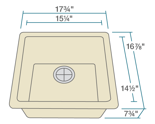 "The dimensions of 805-Beige Single Bowl TruGranite Sink is 17 3/4"" x 16 7/8"" x 7 3/4"". Its minimum cabinet size is 18""."