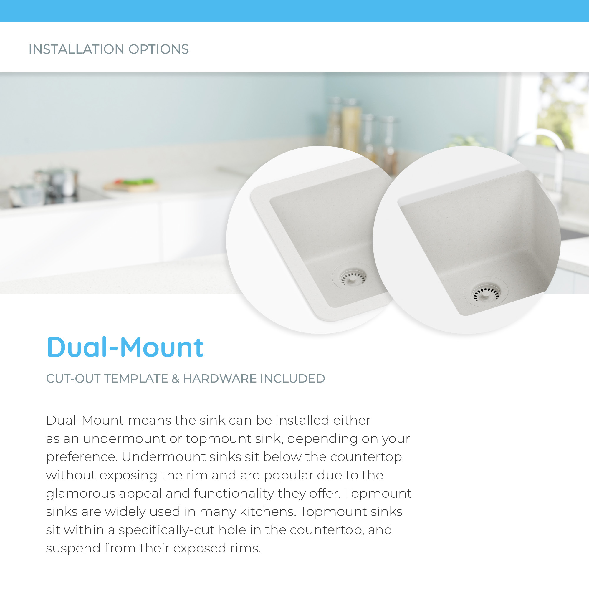 Installation options for dual-mount sink