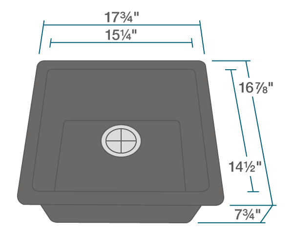 "The dimensions of 805-Black Single Bowl TruGranite Sink is 17 3/4"" x 16 7/8"" x 7 3/4"". Its minimum cabinet size is 18""."
