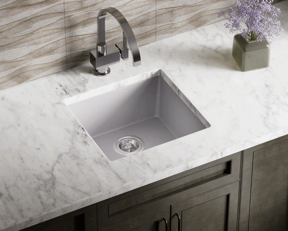 805-Silver Lifestyle Image: 80% Quartz 20% Acrylic Rectangle /Topmount Silver Kitchen Sink