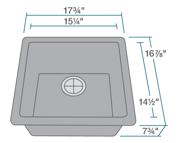 "The dimensions of 805-Silver Single Bowl TruGranite Sink is 17 3/4"" x 16 7/8"" x 7 3/4"". Its minimum cabinet size is 18""."