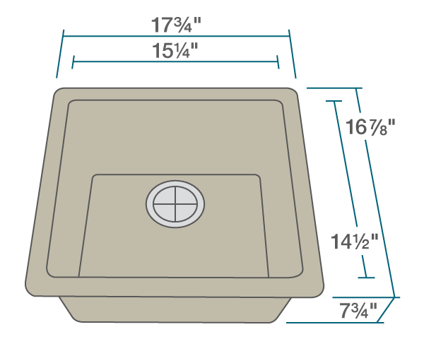 "The dimensions of 805-Slate Single Bowl TruGranite Sink is 17 3/4"" x 16 7/8"" x 7 3/4"". Its minimum cabinet size is 18""."