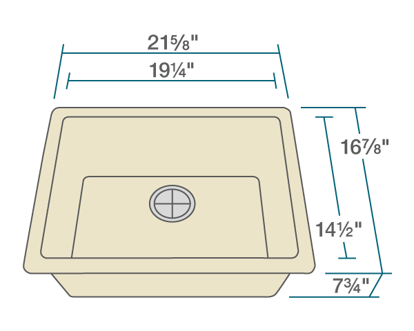 "The dimensions of 808-Beige Single Bowl TruGranite Sink is 21 5/8"" x 16 7/8"" x 7 3/4"". Its minimum cabinet size is 24""."