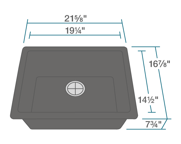 "The dimensions of 808-Black Single Bowl TruGranite Sink is 21 5/8"" x 16 7/8"" x 7 3/4"". Its minimum cabinet size is 24""."