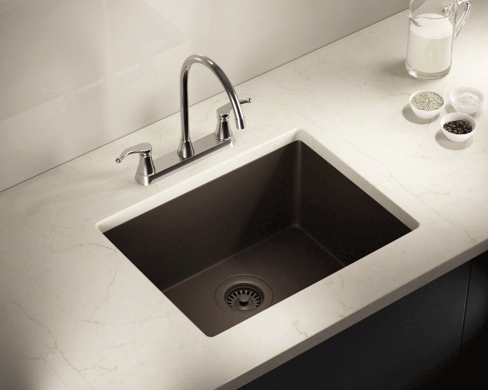 808-Mocha Lifestyle Image: 80% Quartz 20% Acrylic Rectangle /Undermount Mocha Kitchen Sink