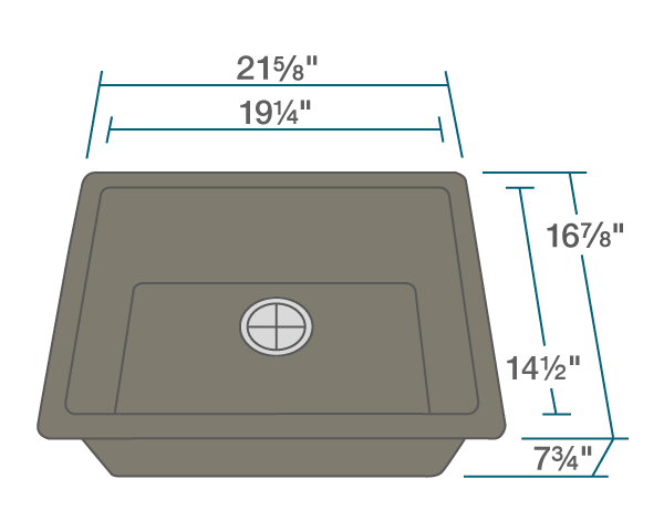 "The dimensions of 808-Mocha Single Bowl TruGranite Sink is 21 5/8"" x 16 7/8"" x 7 3/4"". Its minimum cabinet size is 24""."