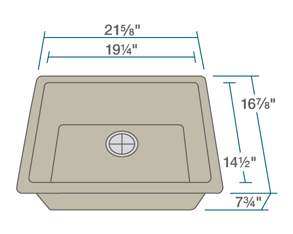 "The dimensions of 808-Slate Single Bowl TruGranite Sink is 21 5/8"" x 16 7/8"" x 7 3/4"". Its minimum cabinet size is 24""."