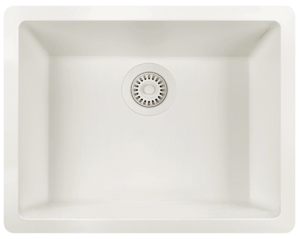 808-White Alt Image: 80% Quartz 20% Acrylic Rectangle /Topmount White Kitchen Sink