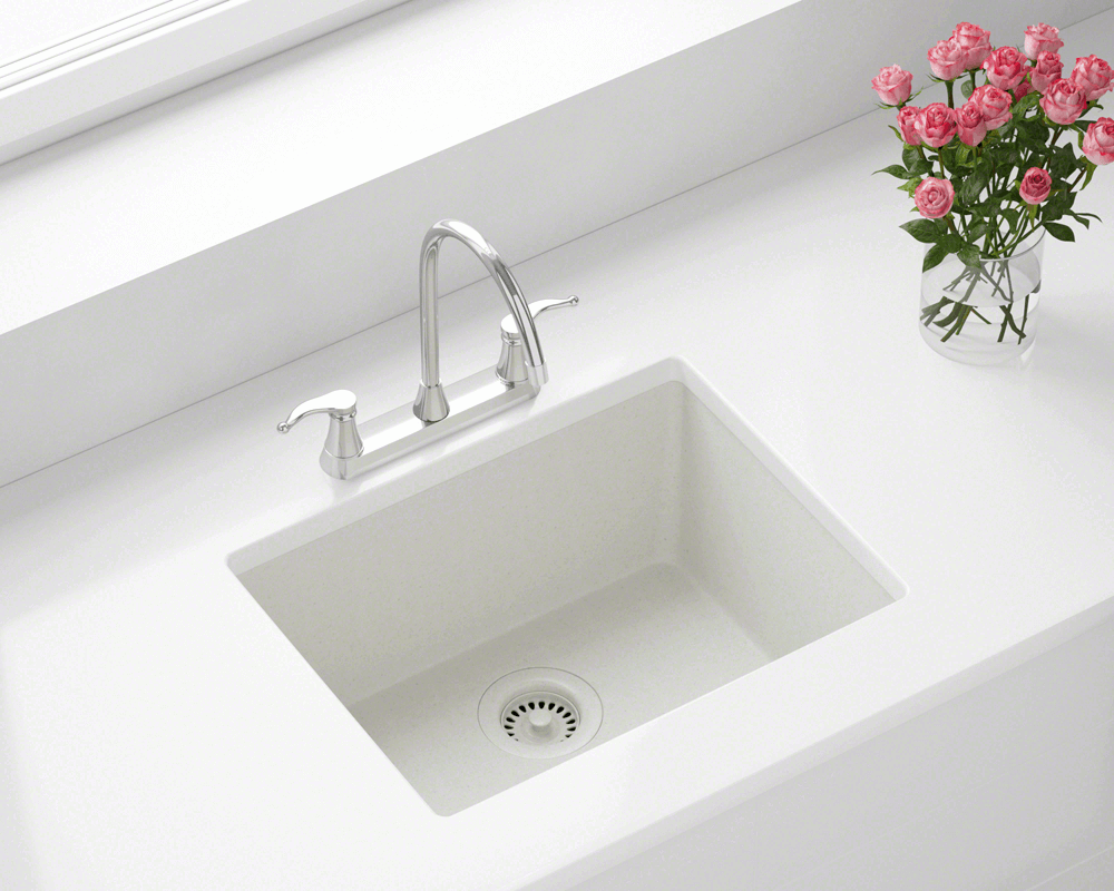 808-White Lifestyle Image: 80% Quartz 20% Acrylic Rectangle /Topmount White Kitchen Sink