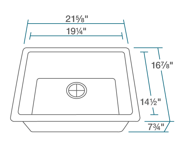 "The dimensions of 808-White Single Bowl Quartz Granite Sink is 21 5/8"" x 16 7/8"" x 7 3/4"". Its minimum cabinet size is 24""."