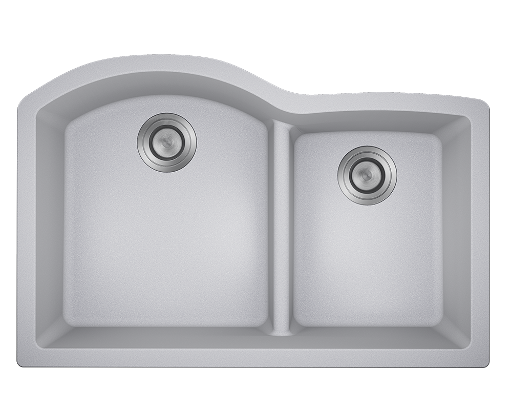 MR Direct 811-Silver Offset Low-Divide Undermount Sink