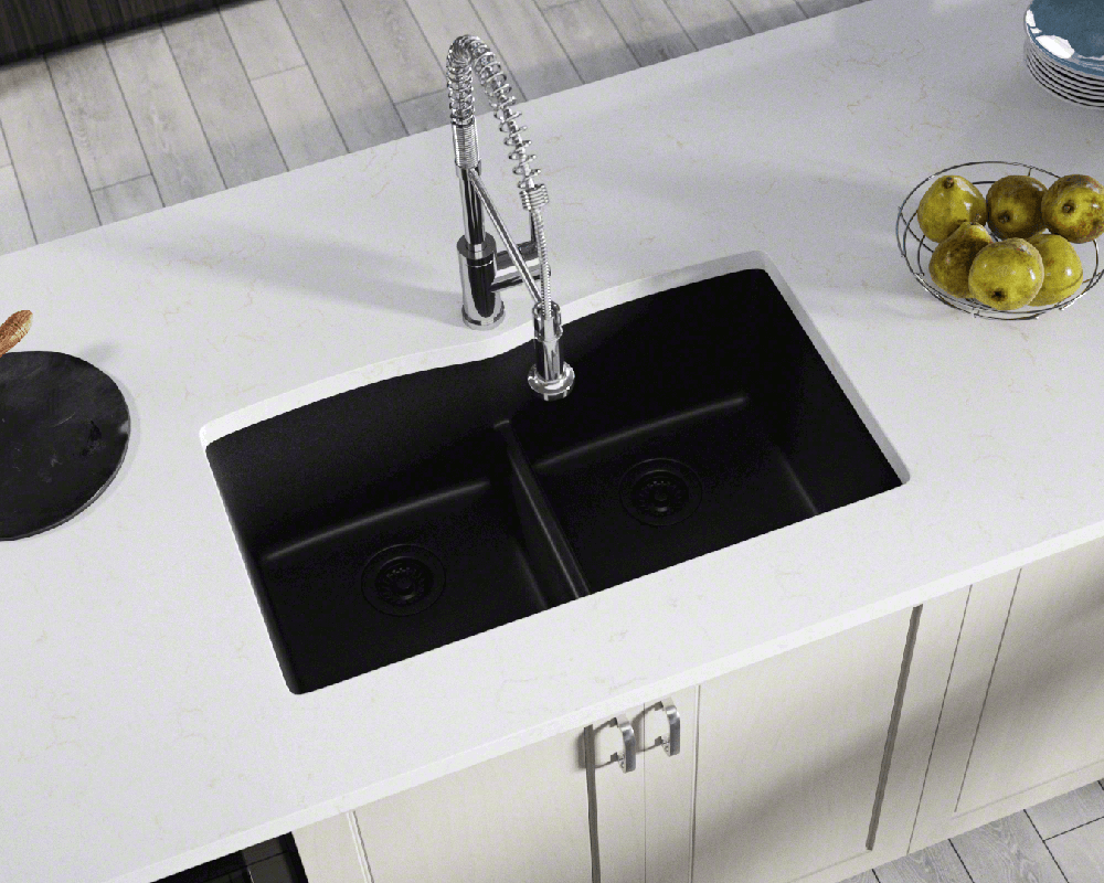 kitchen sink with low divider