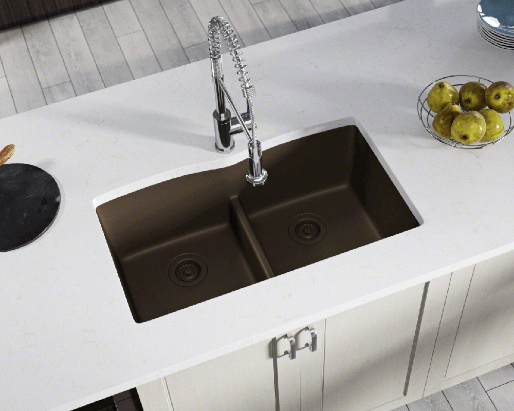 812-Mocha Lifestyle Image: 80% Quartz 20% Acrylic Rectangle Undermount Mocha Kitchen Sink