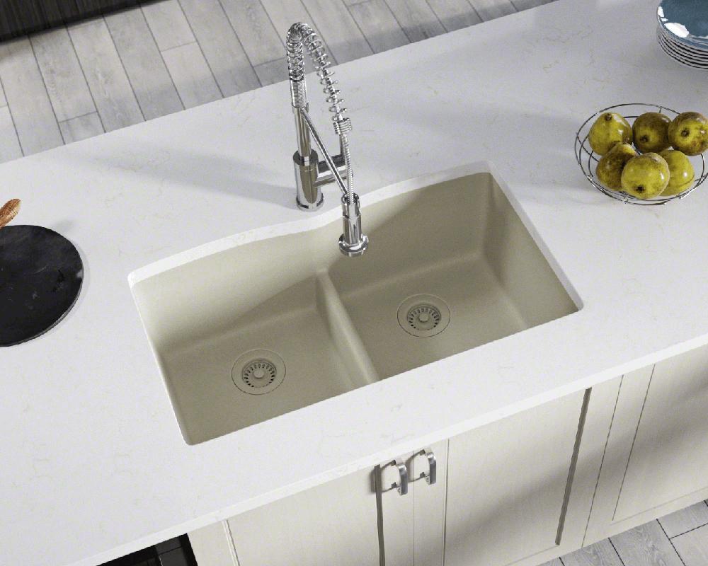 812 Slate Equal Bowl Low Divide Undermount Trugranite Sink