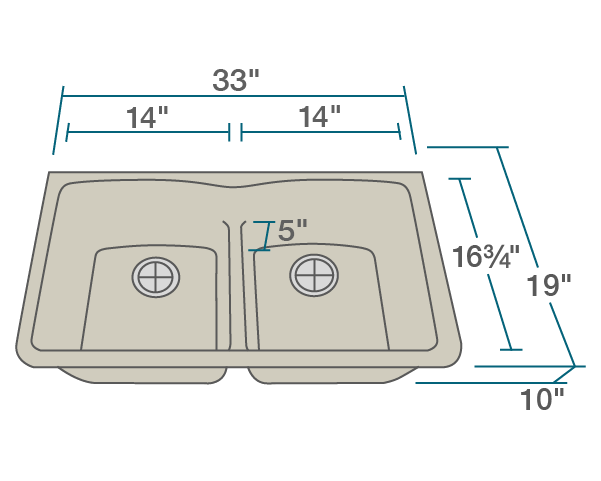 "The dimensions of 812-Slate Equal Bowl Low-Divide Undermount TruGranite Sink is 33"" x 19"" x 10 3/4"". Its minimum cabinet size is 36""."