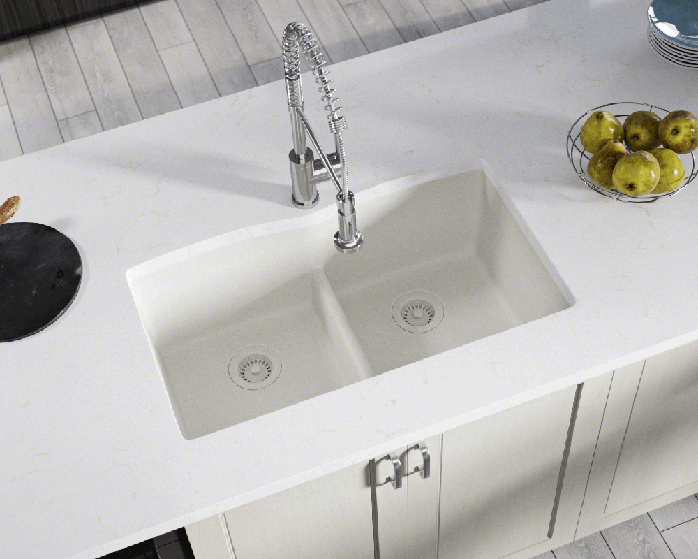 812 White Equal Bowl Low Divide Undermount Trugranite Sink