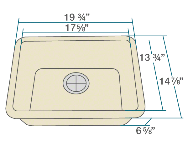 "The dimensions of 818-Beige Small Single Bowl TruGranite Sink is 19 3/4"" x 14 7/8"" x 6 5/8"". Its minimum cabinet size is 21""."