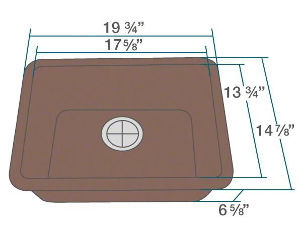"The dimensions of 818-Brown Small Single Bowl Quartz Granite Sink is 19 3/4"" x 14 7/8"" x 6 5/8"". Its minimum cabinet size is 21""."