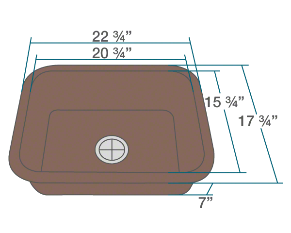 "The dimensions of 823-Brown Single Bowl TruGranite Kitchen Sink is 22 3/4"" x 17 3/4"" x 7"". Its minimum cabinet size is 24""."