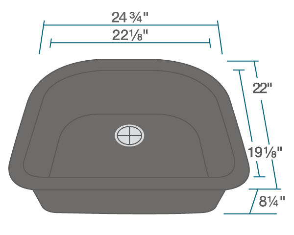 "The dimensions of 824-Black D-Bowl Trugranite Sink is 24 3/4"" x 22"" x 8 1/4"". Its minimum cabinet size is 27""."