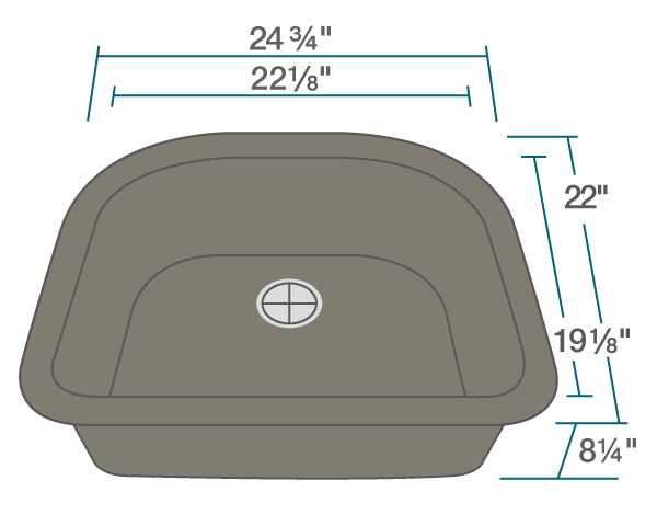 "The dimensions of 824-Mocha D-Bowl Trugranite Sink is 24 3/4"" x 22"" x 8 1/4"". Its minimum cabinet size is 27""."