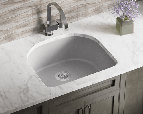 824-Silver Lifestyle Image: 80% Quartz 20% Acrylic D-Bowl Undermount Silver Kitchen Sink