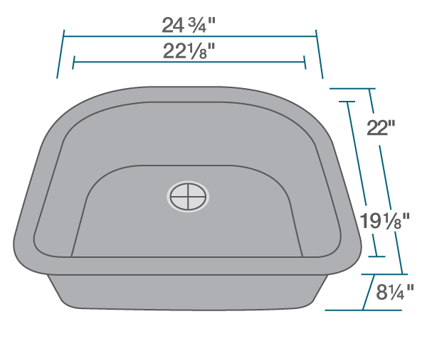 "The dimensions of 824-Silver D-Bowl Quartz Granite Sink is 24 3/4"" x 22"" x 8 1/4"". Its minimum cabinet size is 27""."