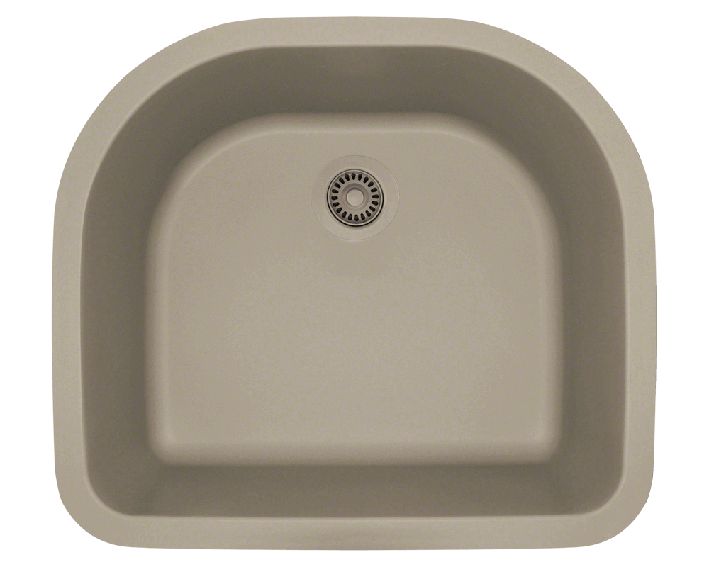 824-Slate Alt Image: 80% Quartz 20% Acrylic D-Bowl Undermount Slate Kitchen Sink