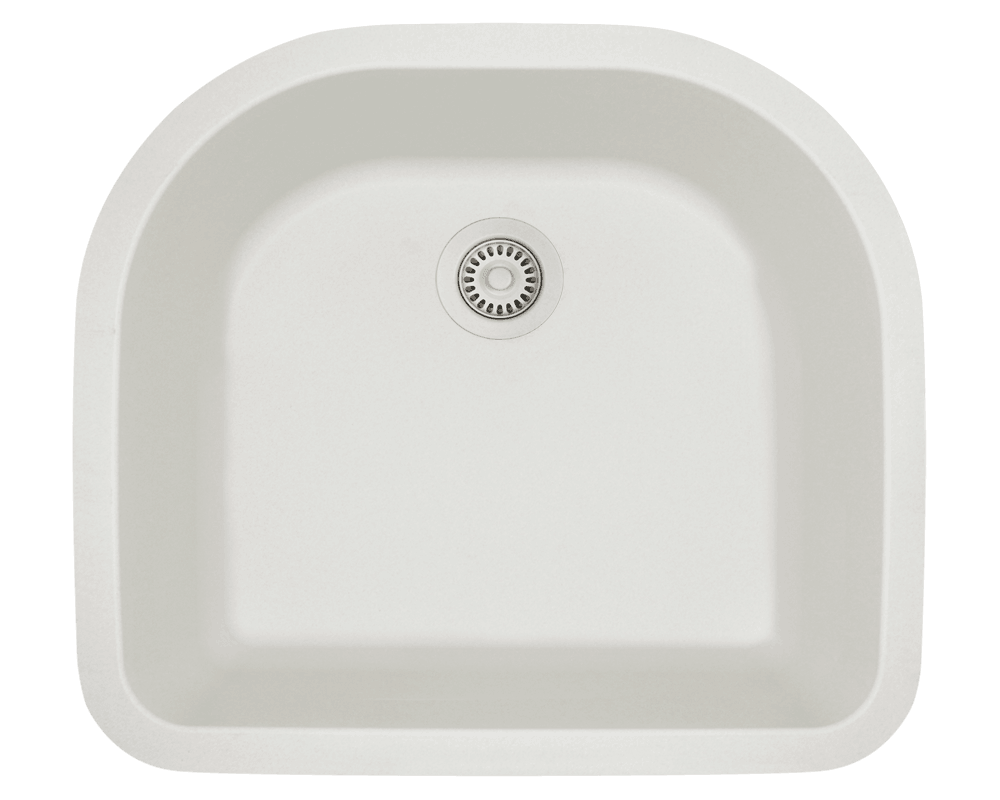 824-White Alt Image: 80% Quartz 20% Acrylic D-Bowl Undermount White Kitchen Sink