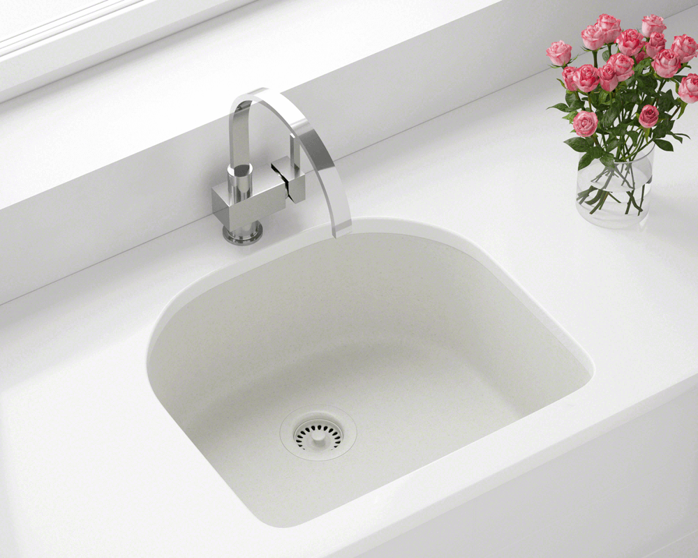 824-White Lifestyle Image: 80% Quartz 20% Acrylic D-Bowl Undermount White Kitchen Sink