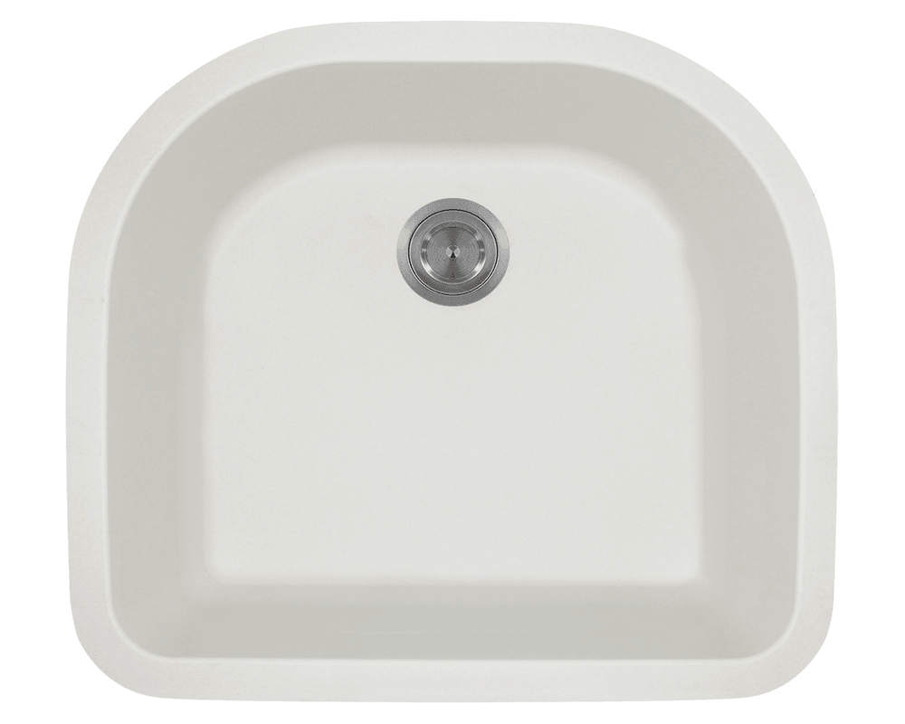 MR Direct 824-White D-Bowl Quartz Granite Sink