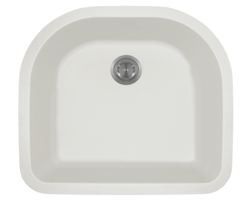 824-White D-Bowl Trugranite Sink