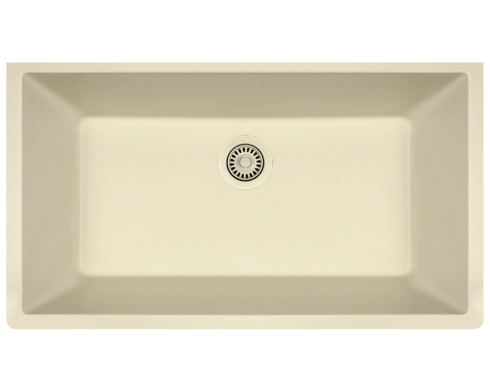848-Beige Alt Image: 80% Quartz 20% Acrylic Rectangle Undermount Beige Kitchen Sink